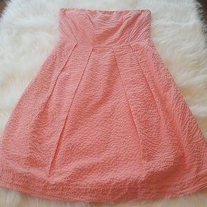 J.Crew Pink Strappless A Line Dress Sz 6 Pockets!!